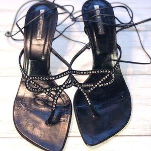 Aldo Black & Crystal Leather/Suede Sandals